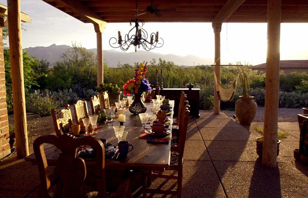 Breakfast table at sunrise
